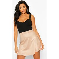 Womens Wet Look Skater Skirt - beige - 14, Beige