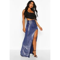 Womens Glitter Jersey Ruched Extreme Split Maxi Skirt - navy - 14, Navy