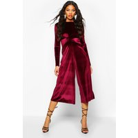Image of Womens Velvet Knot Front Cullotte Jumpsuit - red - 12, Red