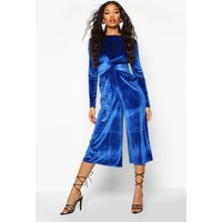 Womens Velvet Knot Front Cullotte Jumpsuit - blue - 12, Blue