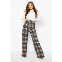 Womens Checked Belted Wide Leg Trouser - grey - 10, Grey