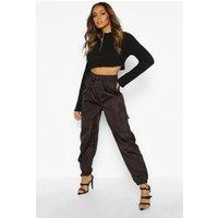 Womens Pocket Detail Shell Jogger - black - 10, Black