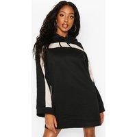 Contrast Stripe Hooded Flare Sleeve Sweatshirt Dress - black - 10, Black