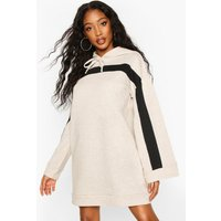 Contrast Stripe Hooded Flare Sleeve Sweatshirt Dress - Beige - 12, Beige