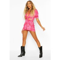 Womens Paisley Print Twist Front Playsuit - Pink - 10, Pink