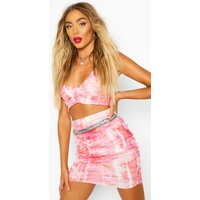 Womens Mesh Tie Dye Ruched Crop Top - Pink - 12, Pink
