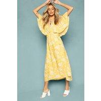 Womens Floral Print Angel Sleeve Wrap Tea Dress - yellow - 12, Yellow