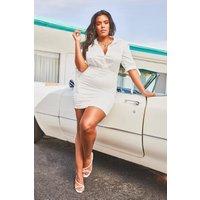 Womens Plus Satin Tie Sleeve Shirred Shirt Dress - white - 22, White