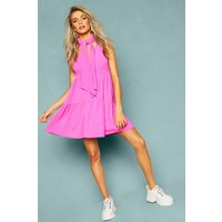Womens Woven Tie Neck Tiered Smock Dress - Pink - 10, Pink
