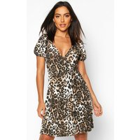 Womens Leopard Puff Sleeve Wrap Front Skater Dress - brown - 10, Brown