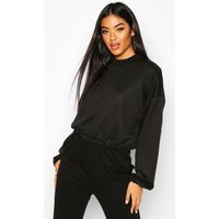 Womens The Basic High Neck Crop Sweat - black - 10, Black