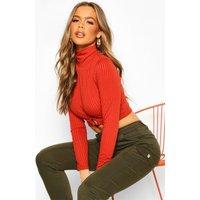Womens Rib High Neck O-Ring Long Sleeve Crop Top - orange - 12, Orange