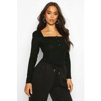 Womens Rib Ruched Sleeve Popper Bodysuit - black - 12, Black