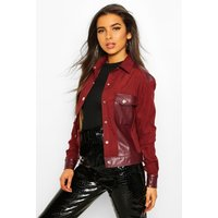 Womens Faux Suede Pu Mix Utility Jacket - red - 12, Red
