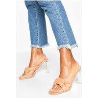 Womens Knot Front Clear Heel Mules - Beige - 3, Beige