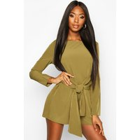 Womens Tie Front Long Sleeve Playsuit - green - 8, Green