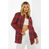 Womens Woven Check Shirt - red - 8, Red