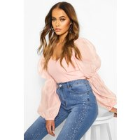 Womens Woven Puff Sleeve Crop Top - Pink - 16, Pink