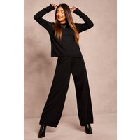 Womens Recycled Knitted Co-ord - black - 22/24, Black