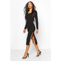 Bandage Rib Long Sleeve Midaxi Dress - black - 12, Black