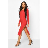 Bandage Rib Long Sleeve Midaxi Dress - Red - 10, Red