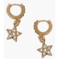 Womens Diamante Star Huggie Hoop Earrings - metallics - One Size, Metallics