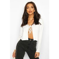 Womens Ribbed Tie Front Cardigan - white - 6, White