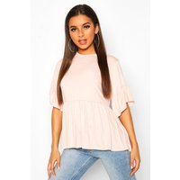 Womens Frill Sleeve Smock Top - pink - 10, Pink