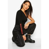 Womens California Slogan One Shoulder Bodysuit - black - 10, Black