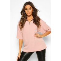 Womens Brushed Rib Zip Funnel Neck Top - pink - 10, Pink