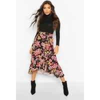 Womens Floral Wrap Ruffle Hem Midi Skirt - black - 14, Black