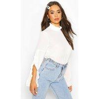 Womens High Neck Ruffle Sleeve Top - white - 16, White