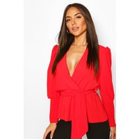 Womens Puff Sleeve Wrap Blouse - Red - 14, Red