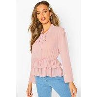 Womens Ruffle Hem Tie Neck Blouse - pink - 14, Pink