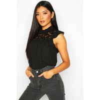Womens Lace High Neck Ruffle Sleeve Smock - black - 12, Black
