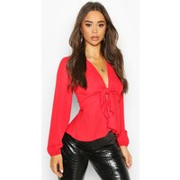 Womens Plunge Tie Front Woven Blouse - red - 8, Red