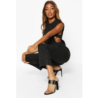 Womens Sleeveless Denim Boilersuit - black - 8, Black