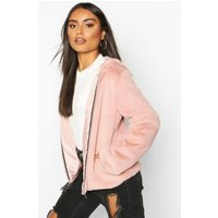 Womens Hooded Faux Fur Coat - pink - 8, Pink