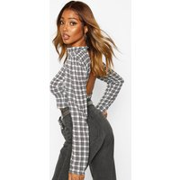 Womens Checked Open Back Long Sleeve Top - white - 8, White