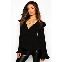 Womens Frill Detail Smock Top - black - 14, Black