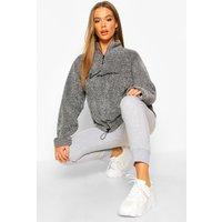 Womens Half Zip Woman Embroidered Fleece Hoodie - grey - 10, Grey