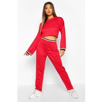 Womens Woman Sports Tape Tracksuit Set - red - 14, Red