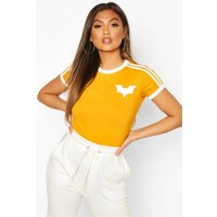 Womens Jersey T-Shirt With Contrast Stripes And Print - yellow - 8, Yellow