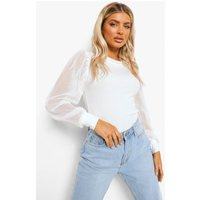Womens Ribbed Mesh Sleeve Top - White - 6, White