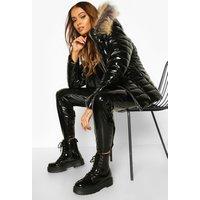 Womens High Shine Faux Fur Trim Puffer Jacket - Black - Xs,