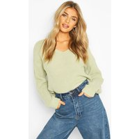 Womens Cropped Fisherman V Neck Jumper - green - S, Green