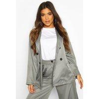 Womens Oversized Masculine Fit Blazer - grey - 16, Grey