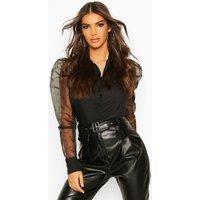Womens Organza Puffed Sleeve Shirt - black - 12, Black