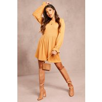 Womens Recycled Ruffle Sleeve Rib Smock Dress - brown - 28, Brown