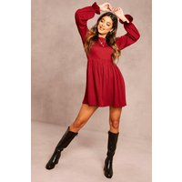 Womens Recycled Ruffle Sleeve Rib Smock Dress - Red - 24, Red